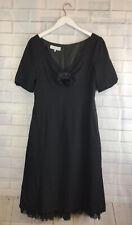 🍄 PADDY CAMPBELL 🍄 Vintage Black Applique Flower Dress Uk 14