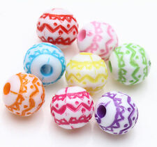 New Lots 25Pcs Mixed Acrylic Loose Charm Round Spacer Beads Jewelry Findings 8mm