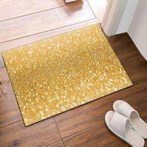 "Xmas Gold Sequin Flannel Non-slip Bathroom Rugs Door Mat Carpet 16X24"""