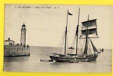 """cpa FRANCE LE TRÉPORT Départ du VOILIER de 1873 """"EDWIN"""" Port Madoc CARNARVON"""