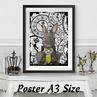 Steampunk Rabbit Poster Size A3 Dictionary Backgroung. Animal Picture Wall art