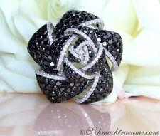 Brillanten Ring mit schwarzen Diamanten im Rosen Design, 8.36 ct. WG-585 9.625€