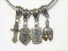 Armor of God Shield Sword Breastplate Helmet European Charm Bead Set 4pc Lot