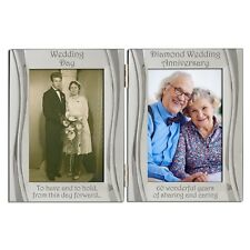 Diamond 60th Wedding Anniversary Double Photo Frame 4 x 6 Inch