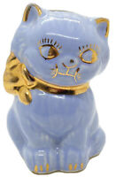 "Vintage 4.5"" Tall Ceramic Blue Cat Bow Collar Bank With Gold Trim No Stopper"