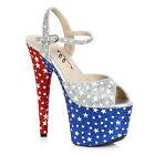 Ellie 709-PATRIOT Multi-Color Patriotic Star 4th of July Platform Heel Sandal