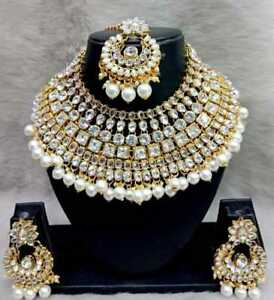 Indian Fashion Bridal Jewelry Wedding Gold Tone Necklace Earring Set