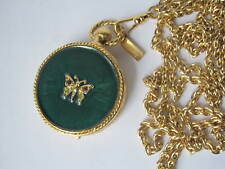 Beautiful Solid Perfume Butterfly Compact Estee Lauder Vintage Necklace Pendant