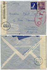 OAT BELGIUM to ALGERIA ONWARD AIRMAIL LARGE OVAL + 456 CIRCLED WW2 CENSORED
