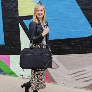 Vera Bradley Lay Flat Weekender Solid Black Canvas Diamond Quilted Travel Bag
