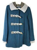Anthropologie FIETS VOOR 2  Womens Boiled Wool Sweater Jacket size 2 Hood Coat