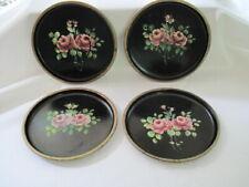 "Toleware Trays Set of 8 Hand Painted Roses Black Gold Rim 8"" Diameter"