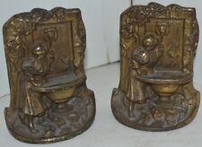 Vintage Brass Bookends Lady Mirror Bird Bath Pair
