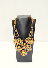 Necklace Painted Wood Animal Print Necklace Earring Set