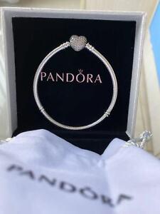 Genuine PANDORA Armband Moments Sparkling Herz Charm Schließe Schlange