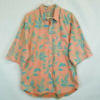 Vtg Bugle Boy Mens Sz XL Hawaiian Aloha Print Button Down Orange Floral Shirt