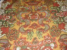 Vintage unique orange gold Dragon Basketweave Upholstery fabric