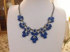 Brand new large antique silver look necklace with blue stone +tiny clear crystal