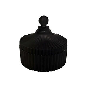 CAROUSEL - MEDIUM BLACK RIBBED GLASS JAR WITH LID.