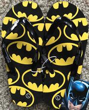 NEW Boys BATMAN Size 2/3 Summer Shoes Black Yellow Flip-Flops Beach Pool Sandals
