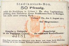 ANCIEN BILLET RARE - STADTKASSEN-BON  COLMAR  1914 - 50 PFENNIG - SPL