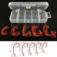 51x Set Red Worm Hook High Carbon Steel Fishing Hook For Texas Rig Soft Bait SE