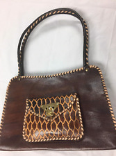 Handmade Carved Brown Leather Purse Shoulder Bag with Contrasting Whipstitching