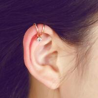 Fashion Women Ear Cuff Wrap Rhinestone Crystal Pearl Clip On Earring Jewelry