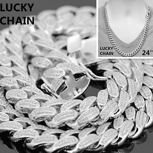 """24""""14K WHITE GOLD FINISH BLING OUT LAB DIAMOND CUBAN LINK CHAIN NECKLACE12mm174g"""