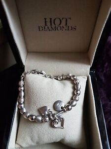 Hot Diamonds Silver Beaded Bracelet with Hearts (Boxed)