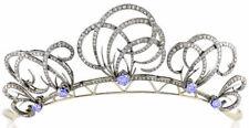 7.60ct ROSE CUT DIAMOND SAPPHIRE ANTIQUE VICTORIAN LOOK 925 SILVER HAIR TIARA