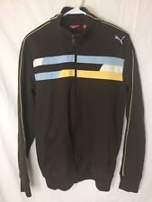 Puma Brown Yellow Blue Stripe Track Jacket Vintage Size Small S