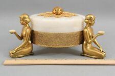 Lrg Antique Art Deco Gold Gilt Nude Women Alabaster Trinket Powder Dresser Jar