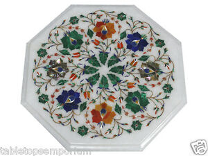 1'x1' White Marble Side Table Top Inlay Multi Floral Stunning Design Gifts Decor
