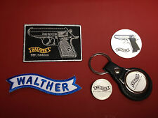 WALTHER GUNS`, LEATHER KEY RING,  BADGE & PATCHES SET  & FREE PHONE STICKER