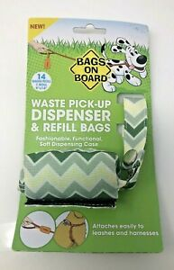 Bramton BAGS ON BOARD Dog Poop Bags Dispenser with 14 Refill Chevron New