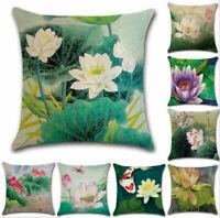 Retro Chinese Lotus Floral Throw Pillow Case Sofa Car Cushion Covers Home Decor