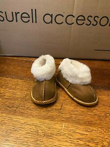 Kids Soft Sole Sheepskin Slippers w Suede Shell & White Shearling Cuff- Size 8