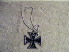 Vintage Bikers Black IRON CROSS 1914 with Crown Necklace