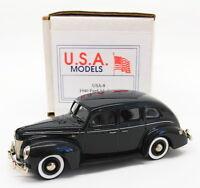 USA Models 1/43 Scale Model Car USA-8 - 1940 Ford 4Dr Sedan - Metallic Blue