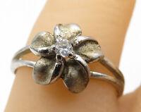 925 Sterling Silver- Vintage Petite CZ Nature Flower Solitaire Ring Sz 7 - R5576