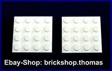 Lego 2 x Platte Grundplatte weiß (4 x 4) - 3031 - White Plate - NEU / NEW