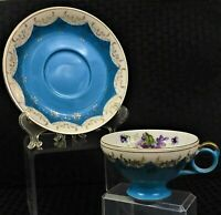 VINTAGE COLLECTIBLE CROWN M JAPAN FOOTED TEACUP AND SAUCER