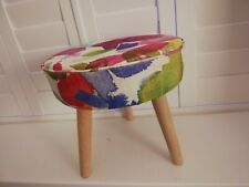 Funky Footstool Circular in Bluebellgray Portree Fabric