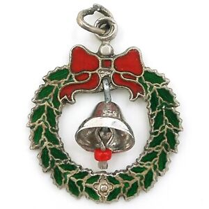 Vintage Enamel WREATH RED BOW MOVING BELL Sterling Silver Christmas Xmas Charm