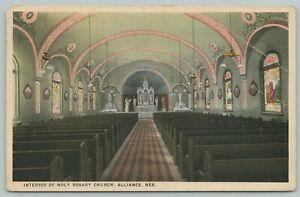 Alliance Nebraska~Interior of Holy Rosary Church~1920s Postcard