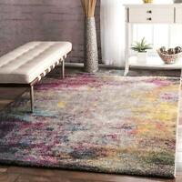 nuLOOM Contemporary Modern Abstract Area Rug in Multi Gray, Pink, Blue, Yellow
