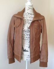 Ladies Leather Jacket 40 Bomber 12 Tan Brown Stradivarious Biker Zip Blouson 80s