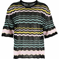 MISSONI Women's Knitted Striped Top, Black/Multi, sizes UK 12 14 / IT 44 46