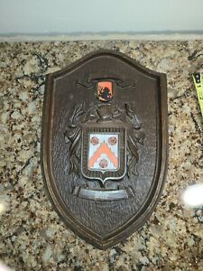 Vintage WHITE Family Crest Shield Coat of Arms Crest Wall Plaque